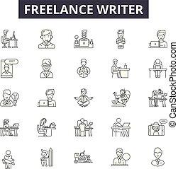 フリー, 作家, 線, アイコン, サイン, セット, vector., フリー, 作家, アウトライン, 概念,...