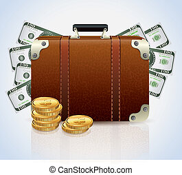 フルである, お金, スーツケース