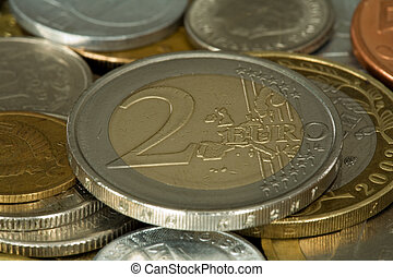 フルである, お金, フォーカス, 012, 2, コイン, ユーロ