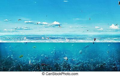 フルである, ごみ, pollution., ?oncept, nature., 世界的である, planet., 背景...
