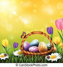 フルである, カラフルである, 卵, 挨拶, バスケット, 草, イースター, 花, カード