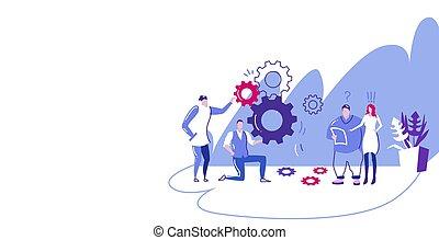 フルである, チーム, 長さ, メカニズム, 同僚, 処理, はめば歯車, 新しい, プロジェクト, ブレーンストーミング, 制御, ビジネス, businesspople, 横, スケッチ, 発生, 概念