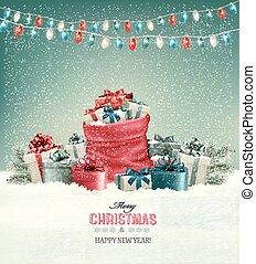 フルである, 冬, 袋, プレゼント。, 背景, クリスマス, 風景, vector.