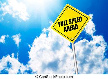 フルである, 前方に, 印, メッセージ, スピード, 道
