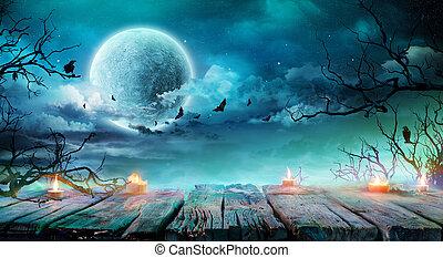 フルである, 古い, テーブル, 気味悪い, -, 月, 背景, 夜, ブランチ, ハロウィーン, 蝋燭