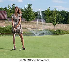 フルである, 古い, club., 長さ, 5, 振動, 年, ゴルフ, 女の子, 光景