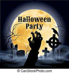 フルである, 墓地, 気味悪い, ハロウィーン, 月, 下に, パーティー