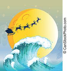 フルである, 大きい波, 月, 明るい, 下に
