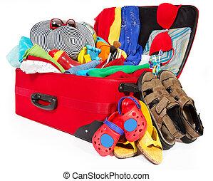 フルである, 家族, 手荷物, 開いた, 旅行, 休暇, スーツケース, 衣類, パックされた