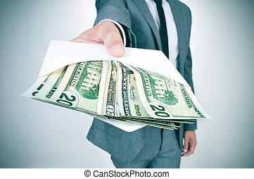 フルである, 寄付, 封筒, ドル, アメリカ人, ビルズ, 人