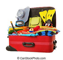 フルである, 手荷物, 休暇, 赤, スーツケース, 開いた, パックされた, 衣服
