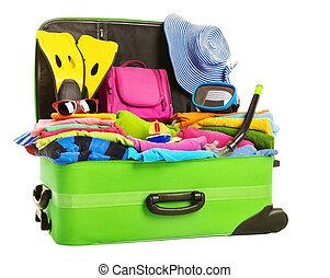 フルである, 手荷物, 手荷物, 旅行, 休暇, 隔離された, 袋, 背景, スーツケース, 白, 開いた, 上に, パックされた, 衣服