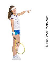 フルである, 指すこと, スペース, テニスプレーヤー, 長さ, 肖像画, コピー, 幸せ