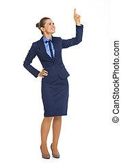 フルである, 指すこと, ビジネス, スペース, の上, 長さ, 女性の 肖像画, コピー