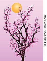 フルである, 木, sakura, 月