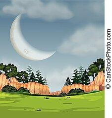 フルである, 現場, 月, 自然