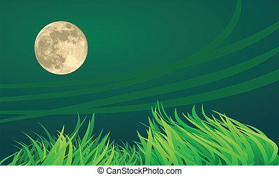 フルである, 田舎, 月, 夜, setting., イラスト