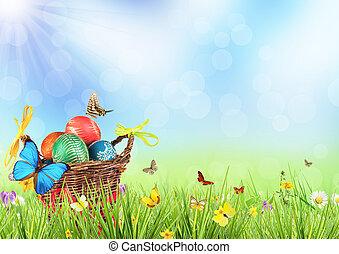 フルである, 着色された卵, バスケット, イースター, 牧草地
