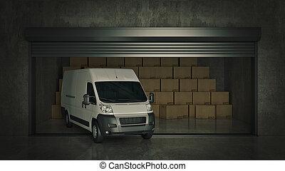 フルである, 自己, 貯蔵, レンダリング, 箱, ボール紙, truck., 開いた, ユニット, 3d