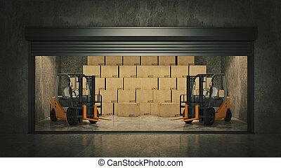 フルである, 自己, 貯蔵, boxes., レンダリング, ボール紙, 開いた, ユニット, 3d