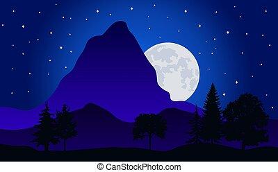 フルである, 自然, 星が多い, 時間, 空, イラスト, 月, 風景, ベクトル, 森林, 夜, 山