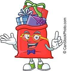 フルである, 贈り物, 漫画, 痛みなさい, 面白い, santa, スタイル, 極度, マスコット, geek, 袋