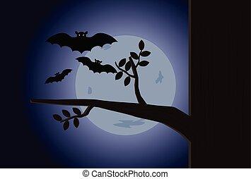 フルである, 飛行, 月, ベクトル, コウモリ, 背景