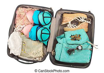 フルである, items., 休暇, パックされた, スーツケース
