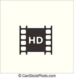 フルである, negative., ビデオ, hd, フィルム, アイコン