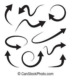 フルである, set., 矢, rotation., 曲がった, refresh.
