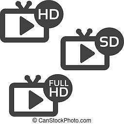 フルである, tv, ボタン, ベクトル, ビデオ, 背景, sd, 白, hd, hd