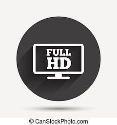 フルである, widescreen, シンボル。, tv., high-definition, hd