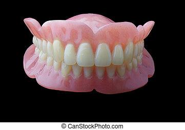 フルの義歯, 歯医者の, プレート, 上に, 黒い背景