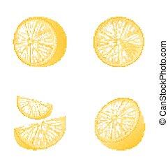 フルーツ, セット, 隔離された, レモン