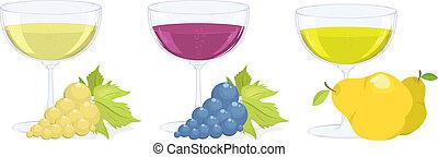 フルーツ, ブドウ, wines., ガラス