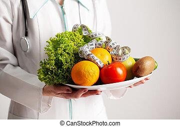 フルーツ, 新たに, 保有物, テープ, 栄養学者, 概念, プレート, 食事, フルである, 測定