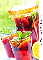 フルーツ, 水差し, パンチ, ガラス