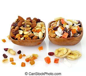 フルーツ, 混ぜられた, 種, ナット, 乾かされた