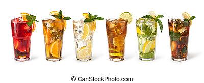フルーツ, 立方体, 飲み物, 氷, ガラス