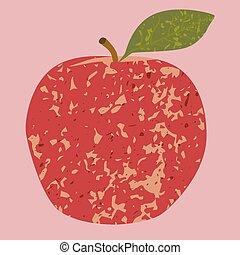 フルーツ, 芸術, アップル, クリップ, 赤