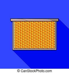 フレーム, ∥で∥, ハチの巣, アイコン, 中に, 平ら, スタイル, 隔離された, 白, バックグラウンド。, apiary, シンボル, 株, ベクトル, イラスト
