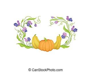 フレーム, イラスト, ギャップ, バックグラウンド。, ベクトル, pumpkins., 茎, 白いトップ, ラウンド