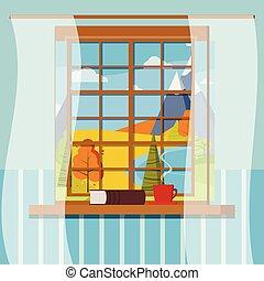 フレーム, カーテン, ∥あるいは∥, 本, ベクトル, 平ら, 暑い, 窓, カップ, コーヒー, イラスト, お茶, style., 秋, 光景, 閉じられた