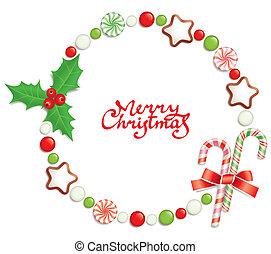 フレーム, クリスマス, キャンデー