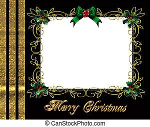 フレーム, クリスマス, ボーダー, 写真