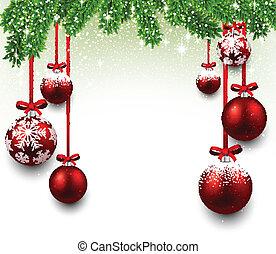 フレーム, クリスマス, モミ, branches.