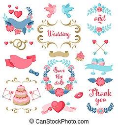 フレーム, セット, 様々, decorations., 結婚式