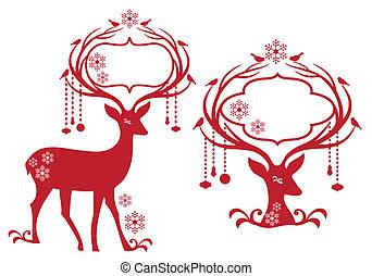 フレーム, トナカイ, クリスマス