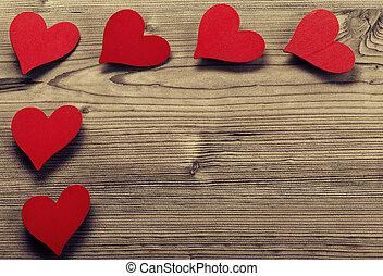 フレーム, バレンタイン, -, 木, 背景, 日