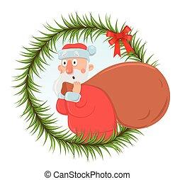 フレーム, プレゼント。, デザイン, 顔つき, element., モミ, 面白い, 特徴, クリスマス, 大きい, ...